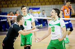 Tin Vrabl of Panvita Pomgrad and Aljosa Bogozalec of Panvita Pomgrad during volleyball game between OK ACH Volley and OK Panvita Pomgrad in 1st final match of Slovenian National Championship 2013/14, on April 6, 2014 in Arena Tivoli, Ljubljana, Slovenia. Photo by Vid Ponikvar / Sportida