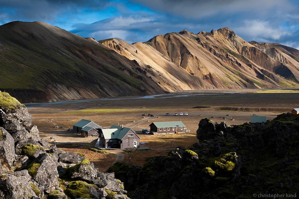 Landmannalaugar at Fjallabak, Interior of Iceland. Looking over the Huts of Ferdafelag Islands and campground. Ferðafélags Íslands og aðstaða ferðafólks við Landmannalaugar.