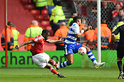 Nottingham Forest midfielder Mustafa Carayol (18) has a shot at goal during the EFL Sky Bet Championship match between Nottingham Forest and Reading at the City Ground, Nottingham, England on 22 April 2017. Photo by Jon Hobley.