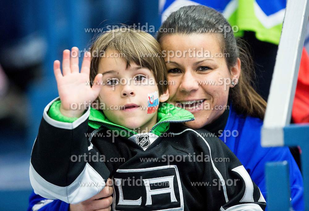 Fans of Slovenia during Ice Hockey match between Belarus and Slovenia at Day 2 in Group B of 2015 IIHF World Championship, on May 2, 2015 in CEZ Arena, Ostrava, Czech Republic. Photo by Vid Ponikvar / Sportida