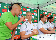 CAPE TOWN, SOUTH AFRICA - OCTOBER 15 2015, Carl Wastie (MC) asks Kyle Brown a few questions during the Springbok 7's Try Dive competition at the University of Cape Town's Jameson Plaza for the Cape Town 7s taking place at Cape Town Stadium on12&amp;13 December 2015.<br /> Photo by Roger Sedres/ImageSA