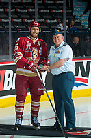 REGINA, SK - MAY 19: Jeffrey Truchon-Viel #25 of Acadie-Bathurst Titan is presented with the third star after the overtime win against the Swift Current Broncos at the Brandt Centre on May 19, 2018 in Regina, Canada. (Photo by Marissa Baecker/CHL Images)