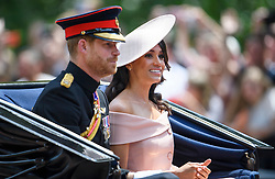 © Licensed to London News Pictures. 09/06/2018. London, UK. Prince Harry and Meghan, Duchess of Sussex attend Trooping The Colour ceremony in London to mark the 92nd birthday of Queen Elizabeth II, Britain's longest reigning monarch. Photo credit: Ben Cawthra/LNP