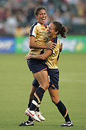 25 August 2007: United States midfielder Shannon Boxx (left) leaps into the arms of teammate Stephanie Lopez (right) following Boxx's first half goal, which gave the US a 1-0 lead. US forward Kristine Lilly (not pictured) assisted on the goal, her 100th career assist. The United States Women's National Team defeated the Women's National Team of Finland 4-0 at the Home Depot Center in Carson, California in an International Friendly soccer match.