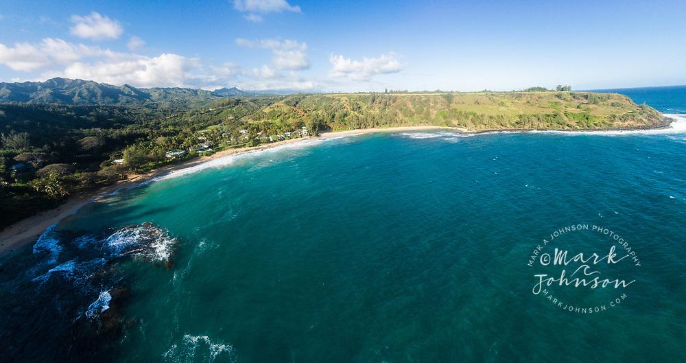 Aerial panorama photograph of Moloa'a Bay, Kauai, Hawaii