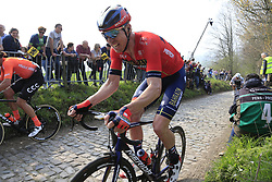 The peloton including Marcel Sieberg (GER) Bahrain-Merida climb the Koppenberg during the 2019 Ronde Van Vlaanderen 270km from Antwerp to Oudenaarde, Belgium. 7th April 2019.<br /> Picture: Eoin Clarke | Cyclefile<br /> <br /> All photos usage must carry mandatory copyright credit (© Cyclefile | Eoin Clarke)