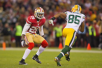 12 January 2013: Cornerback (29) Chris Culliver of the San Francisco 49ers covers (85) Greg Jennings of the Green Bay Packers during the first half of the 49ers 45-31 victory over the Packers in an NFL Divisional Playoff Game at Candlestick Park in San Francisco, CA.