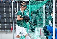 AMSTELVEEN -   Justen Blok (Rdam) , beschermers,    ,tijdens de hoofdklasse hockeywedstrijd Amsterdam-HC Rotterdam (7-1).    COPYRIGHT KOEN SUYK