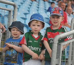 Mayo supporters from Charlestown Conor, Tom and Matthew Naughton watching Mayo U20&rsquo;s in action.  <br />