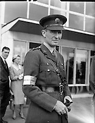 10/08/1960<br /> 08/10/1960<br /> 10 August 1960<br /> Two Irish army officers appointed to the staff of General Carl Carlsson von Horn, Commander of the United Nations forces in the Congo. Colonel Harry W. Byrne, (formerly o/c 1st Brigade, Cork) appointed as Brigade Commander of the 32nd and 33rd Infantry battalions in the Congo and Comandant. Eamonn Doyle, member of the Signal Corps appointed to the operations staff of General von Horn. Picture shows: Comdt. Eamonn Doyle about to depart from Dublin Airport.