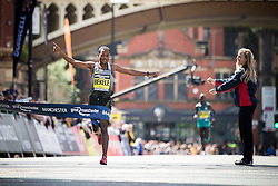 © Licensed to London News Pictures . 22/05/2016 . Manchester , UK . Men's winner KENENISA BEKELE at the finish . The Great Manchester Run in Manchester City Centre . Photo credit : Joel Goodman/LNP