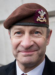 © Licensed to London News Pictures. 03/02/2018. London, UK. UKIP Leader Henry Bolton wears the beret of The Royal Hussars, his former British Army regiment, as he takes part in a Veterans for Justice March in central London .Photo credit: Peter Macdiarmid/LNP
