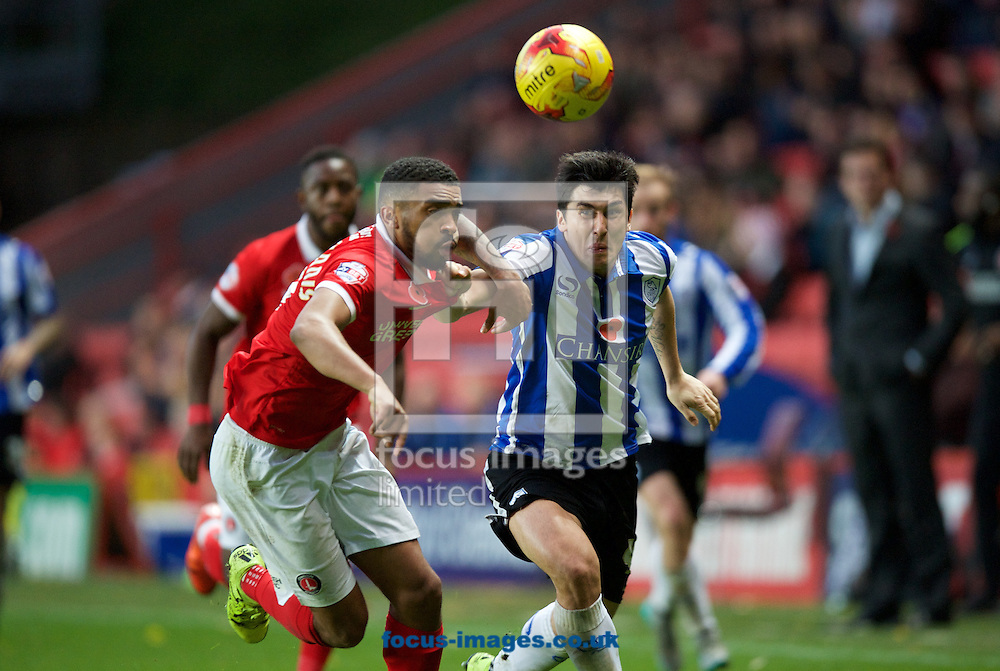 Tareiq Holmes-Dennis of Charlton Athletic and Fernando Forestieri of Sheffield Wednesday fight for the ball during the Sky Bet Championship match at The Valley, London<br /> Picture by Alan Stanford/Focus Images Ltd +44 7915 056117<br /> 07/11/2015