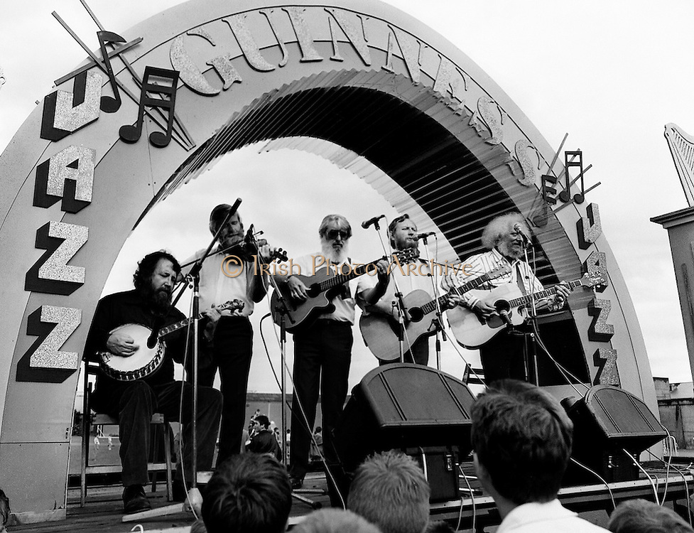 The Dubliners top the bill on stage at the Guinness Family Fun Day.<br /> 2 July 1988
