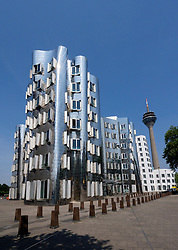 Neuer Zollhof buildings designed by Frank Gehry in Medianhafen in Düsseldorf Germany