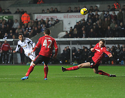 Swansea City's Jose Alberto Canas shoots over the bar. - Photo mandatory by-line: Alex James/JMP - Tel: Mobile: 07966 386802 08/02/2014 - SPORT - FOOTBALL - Swansea - Liberty Stadium - Swansea City v Cardiff City - Barclays Premier League