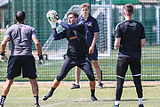 Forest Green Rovers goalkeeper James Montgomery during the first day back at training for Forest Green Rovers at the New Lawn, Forest Green, United Kingdom on 2 July 2018. Picture by Shane Healey.