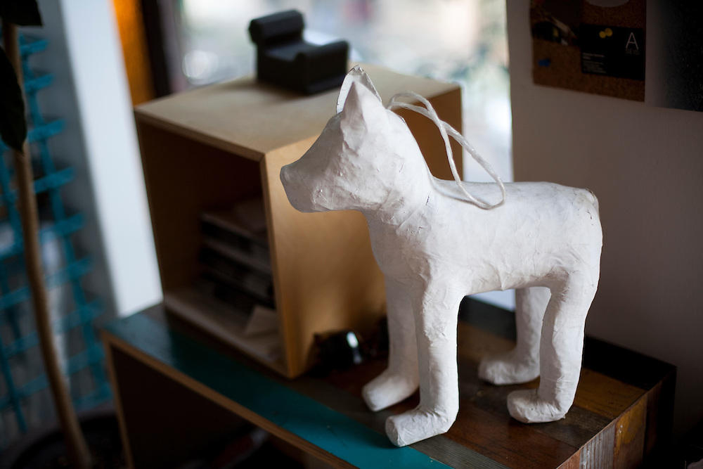 A dog sculpture in the office of Emiliano Godoy in Mexico City.