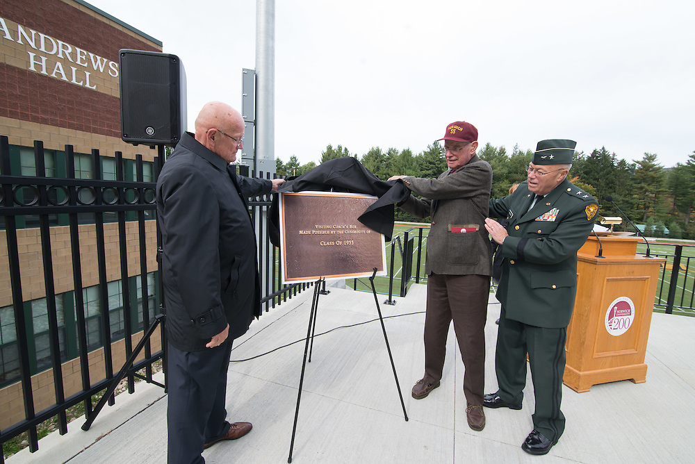Photos of the dedication of the coaches box at the Haynes Family Stadium during the 2015 homecoming celebration.