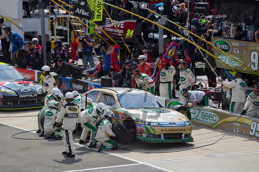 BRISTOL, TN - MAR 20, 2011:  Carl Edwards (99) comes in for a pit stop during the Jeff Byrd 500 race at the Bristol Motor Speedway in Bristol, TN.
