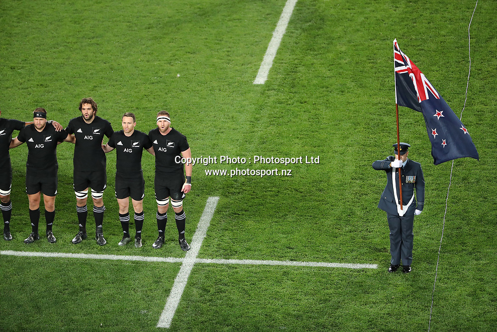 All Black national anthem during the 30-15 All Black win in the first test match of the DHL Lions Series 2017 played between the All Blacks and the British and Irish Lions at Eden Park, Auckland on 24th June 2017. <br /> Copyright Photo; Peter Meecham/ www.photosport.nz