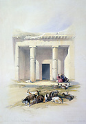 Entrance to the Caves at Beni Hasan'.  Lithograph of 1856 after David Roberts (1796-1864) Scottish artist and orientalist. Ancient Egyptian burial site used mainly during the Middle Kingdom, 21st-17th centuries BC. Death Burial