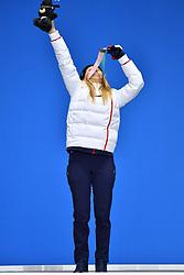 HERNANDEZ Cecile FRA SB-LL1,  ParaSnowboard, Snowboard Banked Slalom, Podium at  the PyeongChang2018 Winter Paralympic Games, South Korea.