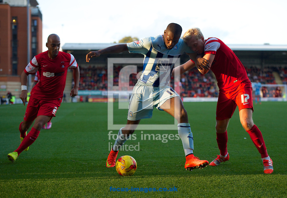 (left to right) Elliott Omozusi of Leyton Orient  Frank Nouble of Coventry City and Josh Wright of Leyton Orient  during the Sky Bet League 1 match at the Matchroom Stadium, London<br /> Picture by Alan Stanford/Focus Images Ltd +44 7915 056117<br /> 01/11/2014