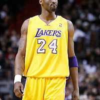 19 January 2012: Los Angeles Lakers shooting guard Kobe Bryant (24) looks dejected during the Miami Heat 98-87 victory over the Los Angeles Lakers at the AmericanAirlines Arena, Miami, Florida, USA.
