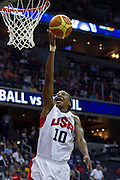 Team USA Tamika Catchings makes a layup during the 2012 USA Women's Basketball Team versus Brazil at Verizon Center in Washington, DC.  USA won 99-67.  July 16, 2012  (Photo by Mark W. Sutton)