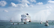 P&O's brand new cruise ship, Britannia, steams into Southampton for the first time. At 330 metres long she is the largest ship in P&O's fleet and the largest ever built for the british cruise market. She will be named by Her Majesty the Queen in the city on Tuesday. <br /> Picture date Friday 6th March, 2015.<br /> Picture by Christopher Ison. Contact +447544 044177 chris@christopherison.com