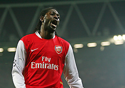 LONDON, ENGLAND - Wednesday, February 20, 2008 : Arsenal's Emmanuel Adebayor shows his dejection after a miss against AC Milan during the UEFA Champions 1st Knockout Round, 1st Leg match at The Emirates Stadium. (Photo by Chris Ratcliffe/Propaganda)