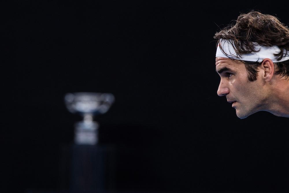 Roger Federer of Switzerland during the men's final on day fourteen of the 2017 Australian Open at Melbourne Park on January 29, 2017 in Melbourne, Australia.<br /> (Ben Solomon/Tennis Australia)