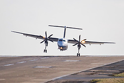 © Licensed to London News Pictures. 29/02/2020. Leeds UK. A Flybe aircraft struggles with the strong winds while attempting to land at Leeds Bradford airport today as Storm Jorge begins to batter the uk bringing with it expected winds of up to 60mph & further rain & snow. Photo credit: Andrew McCaren/LNP