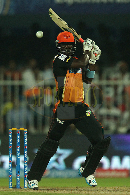 Darren Sammy of the Sunrisers Hyderabad during match 17 of the Pepsi Indian Premier League 2014 between the Sunrisers Hyderabad and the Chennai Superkings held at the Sharjah Cricket Stadium, Sharjah, United Arab Emirates on the 27th April 2014<br /> <br /> Photo by Ron Gaunt / IPL / SPORTZPICS
