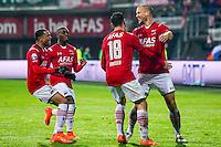 ALKMAAR - 20-02-2016, AZ - FC Groningen, AFAS Stadion, 4-1, AZ speler Ron Vlaar heeft de 2-0 gescoord, AZ speler Vincent Janssen, AZ speler Dabney dos Santos Souza, AZ speler Ridgeciano Haps.
