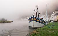 Foggy morning on Port-Launay, Finistère, Brittany, Bretagne, France