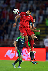 BELGRADE, SERBIA - Sunday, June 11, 2017: Serbia's Alexandar Mitrovic and Wales' Joe Ledley during the 2018 FIFA World Cup Qualifying Group D match between Wales and Serbia at the Red Star Stadium. (Pic by David Rawcliffe/Propaganda)