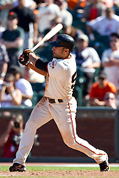May 30, 2010; San Francisco, CA, USA;  San Francisco Giants center fielder Andres Torres (56) hits the game winning RBI against the Arizona Diamondbacks during the tenth inning inning at AT&T Park.  San Francisco defeated Arizona 6-5 in 10 innings.