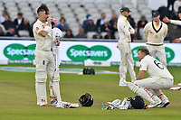 Cricket - 2019 Australia Ashes Tour of England - 4th Test, Day Three<br /> <br /> Rory Burns takes a break <br /> , at Old Trafford.<br /> <br /> COLORSPORT/WINSTON BYNORTH