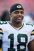 KANSAS CITY, MO - AUGUST 29:  Randall Cobb #18 of the Green Bay Packers warms up before the last preseason game against the Kansas City Chiefs at Arrowhead Stadium on August 29, 2013 in Kansas CIty, Missouri.  (Photo by Wesley Hitt/Getty Images) *** Local Caption *** Randall Cobb