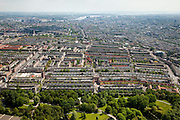 Nederland, Amsterdam, Amsterdam-West, 25-05-2010. Rembrandt park met Hoofdorppleinbuurt en De Baarsjes (Bos en Lommer, Oud-West). Binnenstad met IJ in het verschiet..Western part of the city..luchtfoto (toeslag), aerial photo (additional fee required).foto/photo Siebe Swart