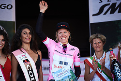 Ellen van Dijk (NED) takes the pink jersey on Giro Rosa 2018 - Stage 1, a 15.5 km team time trial in Verbania, Italy on July 6, 2018. Photo by Sean Robinson/velofocus.com