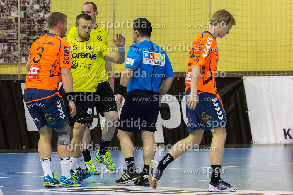 Niko Medved of RK Gorenje Velenje (SLO) and referee in talk during handball match between RK Gorenje Velenje (SLO) and Team Tvis Holstebro (DEN) in Quarter Finals of EHF European Cup 2014/15, on April 11, 2015 in Red Arena, Velenje, Slovenia. Photo by Ziga Zupan / Sportida