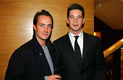 Left to right, brothers the HON.EDWARD TOLLEMACHE and the HON.JAMES TOLLEMACHE at a party hosted by Burberry to launch their special collection in aid of Breakthrough Breast Cancer, held at 21-23 New Bond Street, London W1 on 5th October 2004.<br />