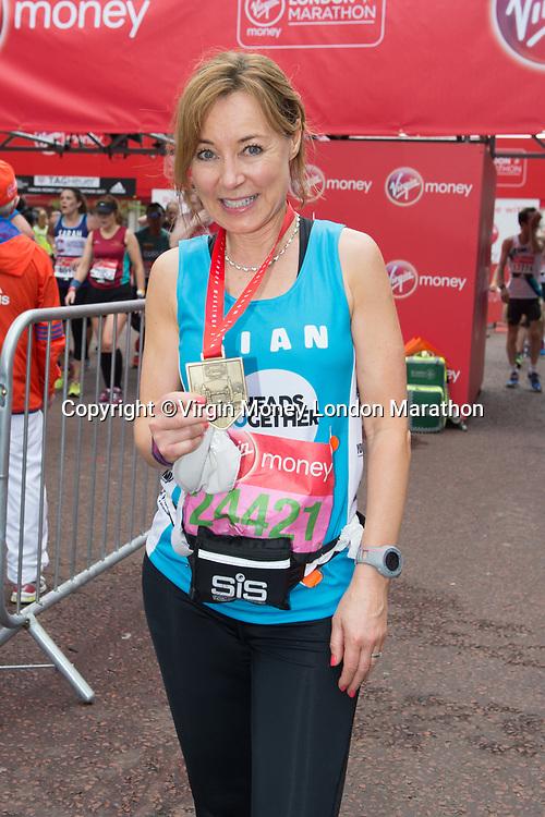 Sian Williams (Channel 5 news anchor running for Heads Together). The Virgin Money London Marathon, 23rd April 2017.<br /> <br /> Photo: Joanne Davidson for Virgin Money London Marathon<br /> <br /> For further information: media@londonmarathonevents.co.uk