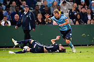 SYDNEY, AUSTRALIA - MAY 12: Sydney FC midfielder Siem de Jong (22) and Melbourne Victory defender Storm Roux (2) clash at the Elimination Final of the Hyundai A-League Final Series soccer between Sydney FC and Melbourne Victory on May 12, 2019 at Netstrata Jubilee Stadium in Sydney, Australia. (Photo by Speed Media/Icon Sportswire)