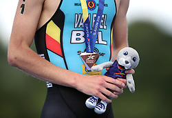 Close up of Belgium's Marten Van Riel bronze medal during the Men's Triathlon during day nine of the 2018 European Championships at Strathclyde Country Park, Lanarkshire.