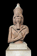 Bust of a granite statue of Ramesses IIFrom Aswan, Elephantine Island, Egypt. 19th Dynasty, around 1250 BC. From the Temple of Khnum. Many of the main attributes of Egyptian royalty are visible on this statue of King Ramesses II (1279-1213 BC). He is shown wearing the two crowns of Upper and Lower Egypt, symbolizing the king's control over the country; in his hands are the crook and the flail, which represent his power over his subject; and on his brow is the uraeus, the cobra snake ready to attack any who dare to oppose him.