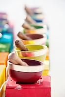 Colorful tibetan singing bowls.